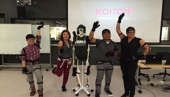 Members of the Smithsonian Latino Center perform with a motion capture system by Noitom.