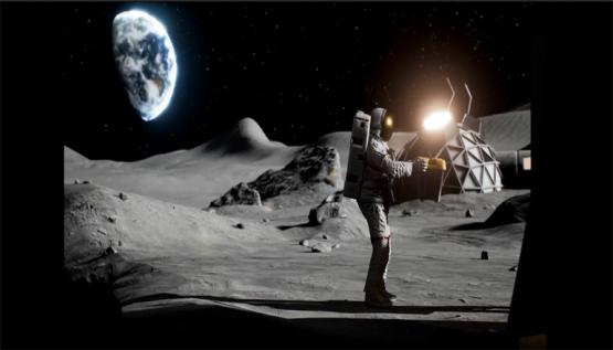 An astronaut walks on the moon inside the Alice Space virtual reality experience by Noitom.